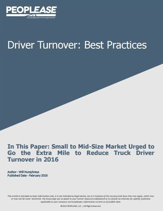 Small to Mid-Size Market Urged to Go the Extra Mile to Reduce Truck Driver Turnover in 2016